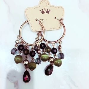 Copper Tone and Green Chandelier Hoops